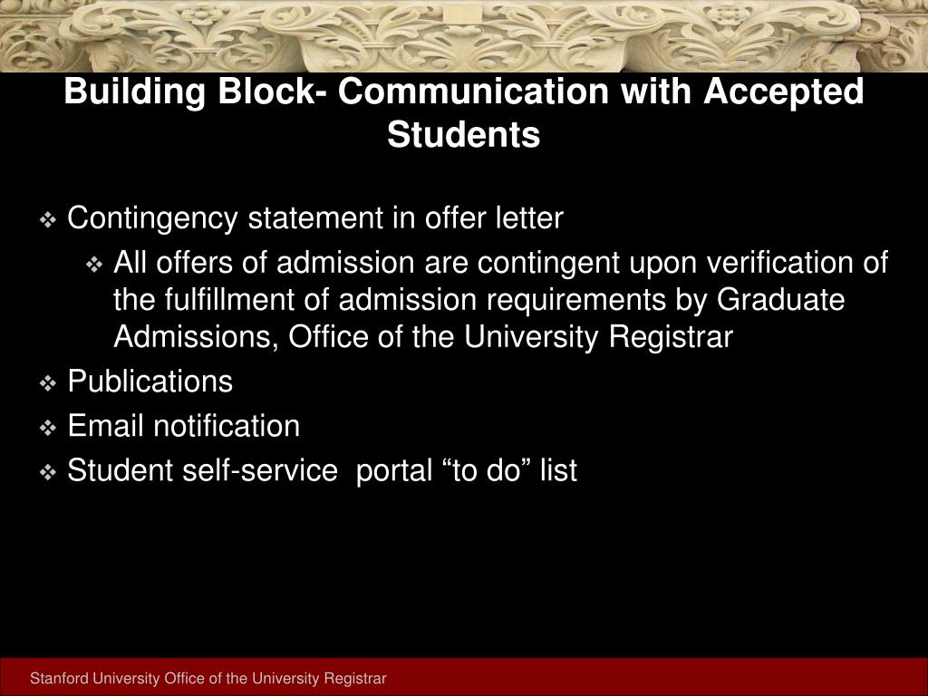 Building Block- Communication with Accepted Students