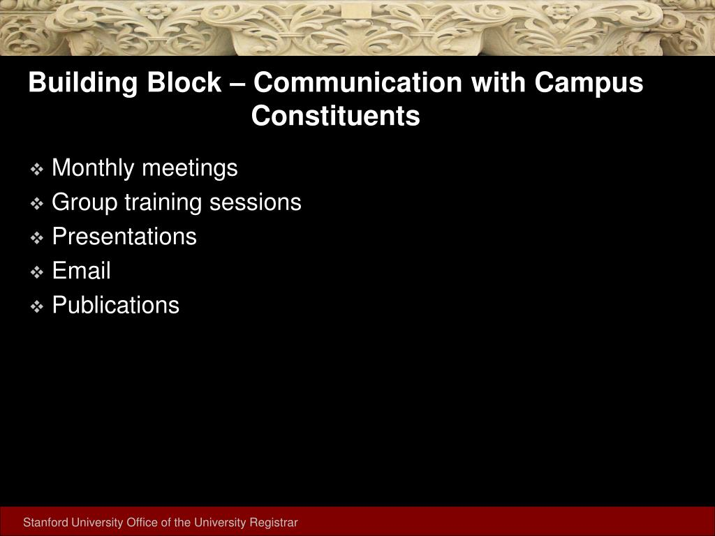 Building Block – Communication with Campus Constituents