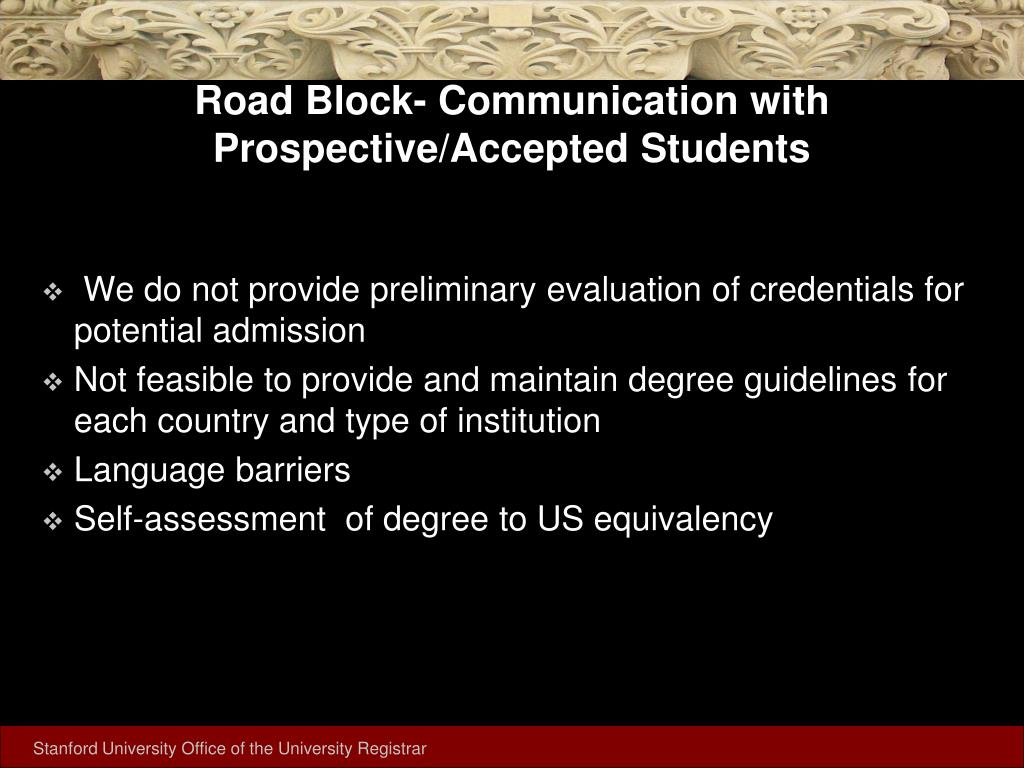 Road Block- Communication with Prospective/Accepted Students