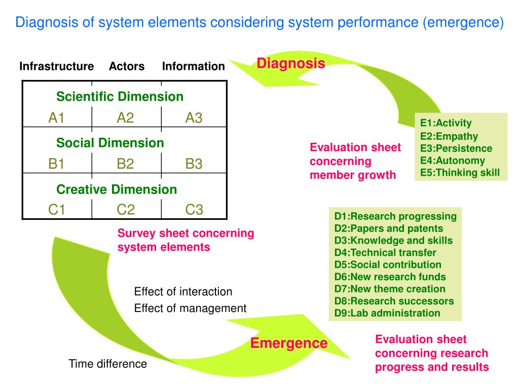 Diagnosis of system elements considering system performance (emergence)