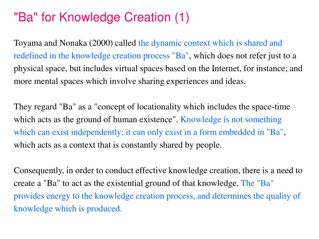 """""""Ba"""" for Knowledge Creation (1)"""
