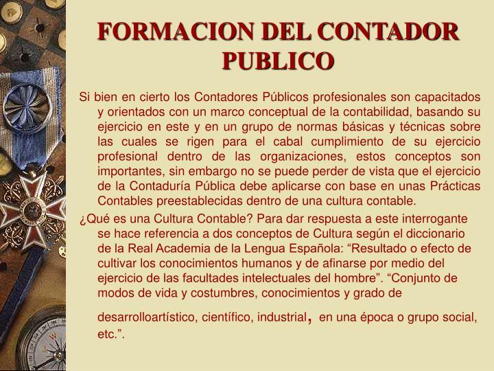 FORMACION DEL CONTADOR PUBLICO