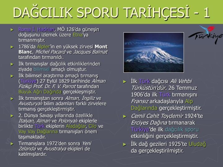 DAĞCILIK SPORU TARİHÇESİ - 1