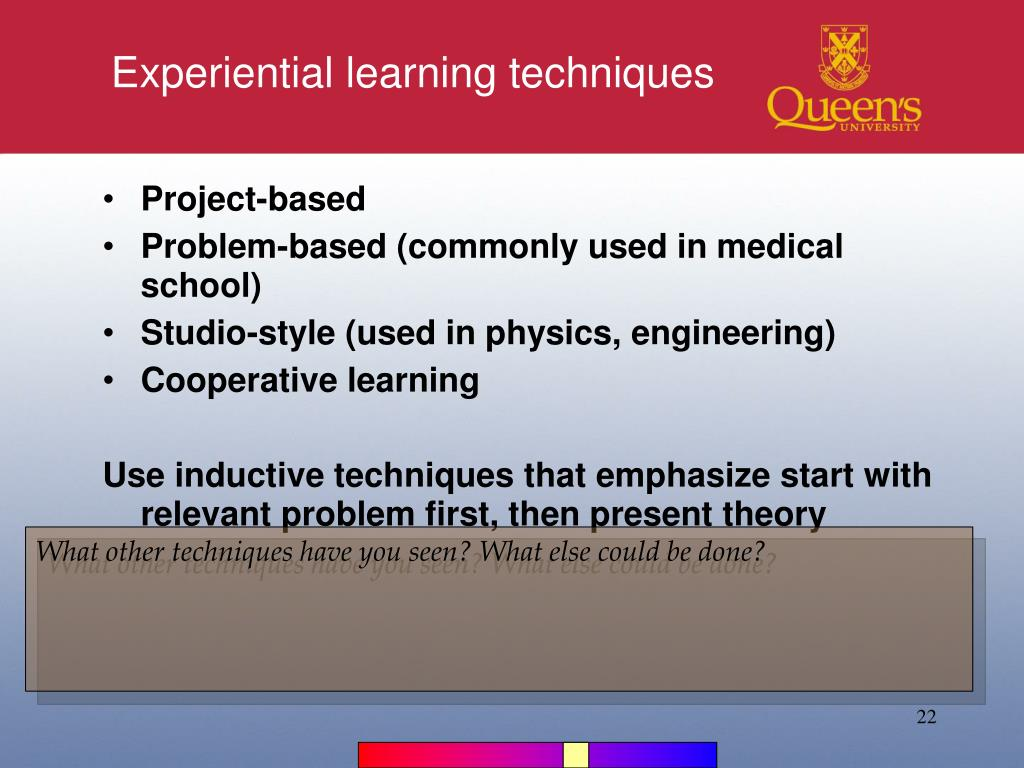 Experiential learning techniques