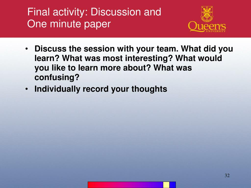 Final activity: Discussion and