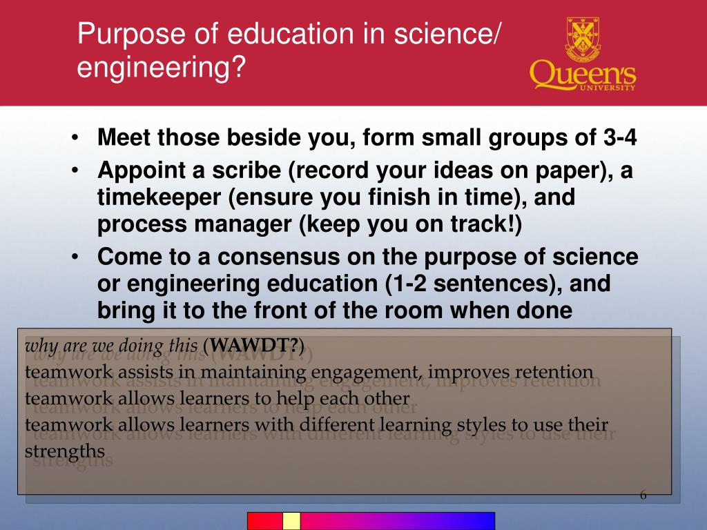 Purpose of education in science/