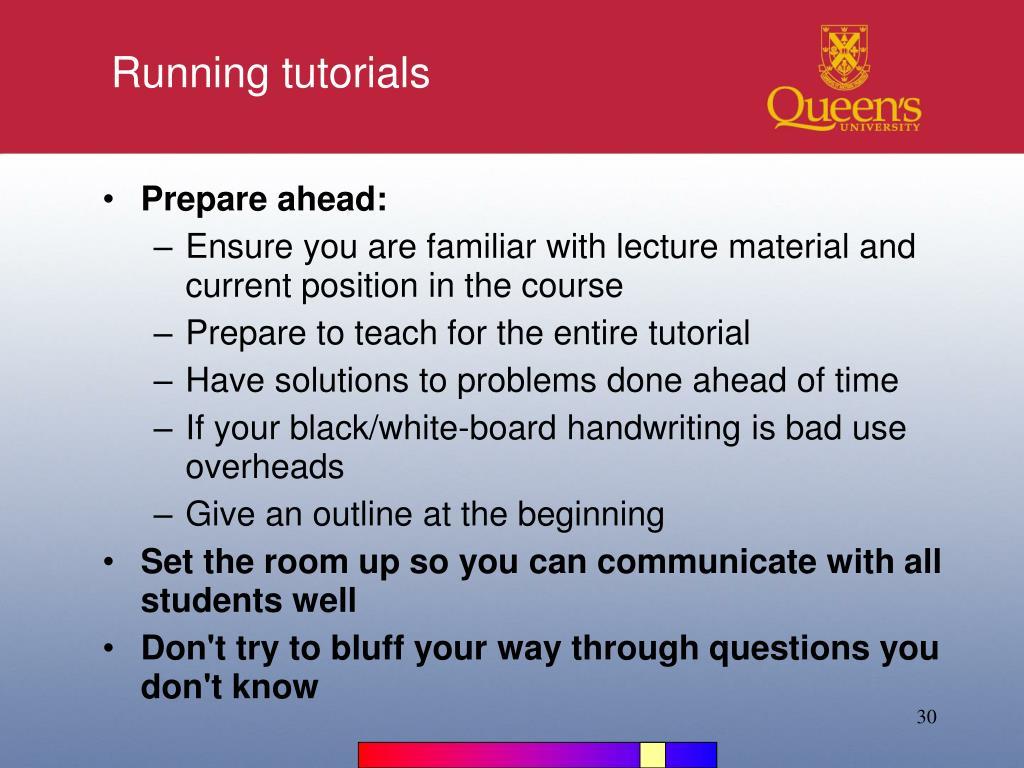 Running tutorials