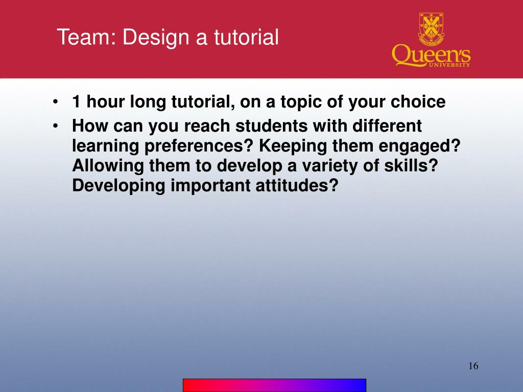 Team: Design a tutorial