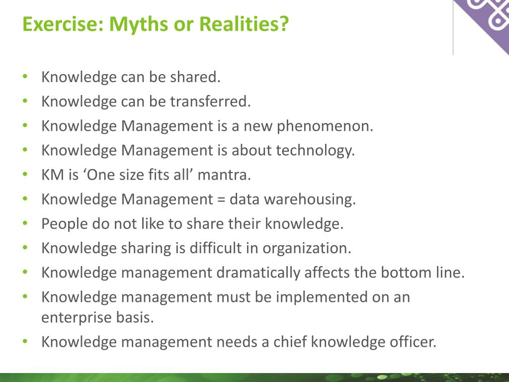 Exercise: Myths or Realities?