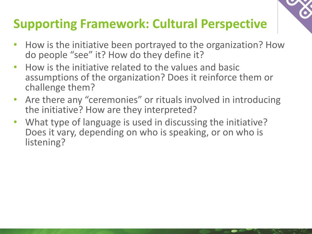 "How is the initiative been portrayed to the organization? How do people ""see"" it? How do they define it?"