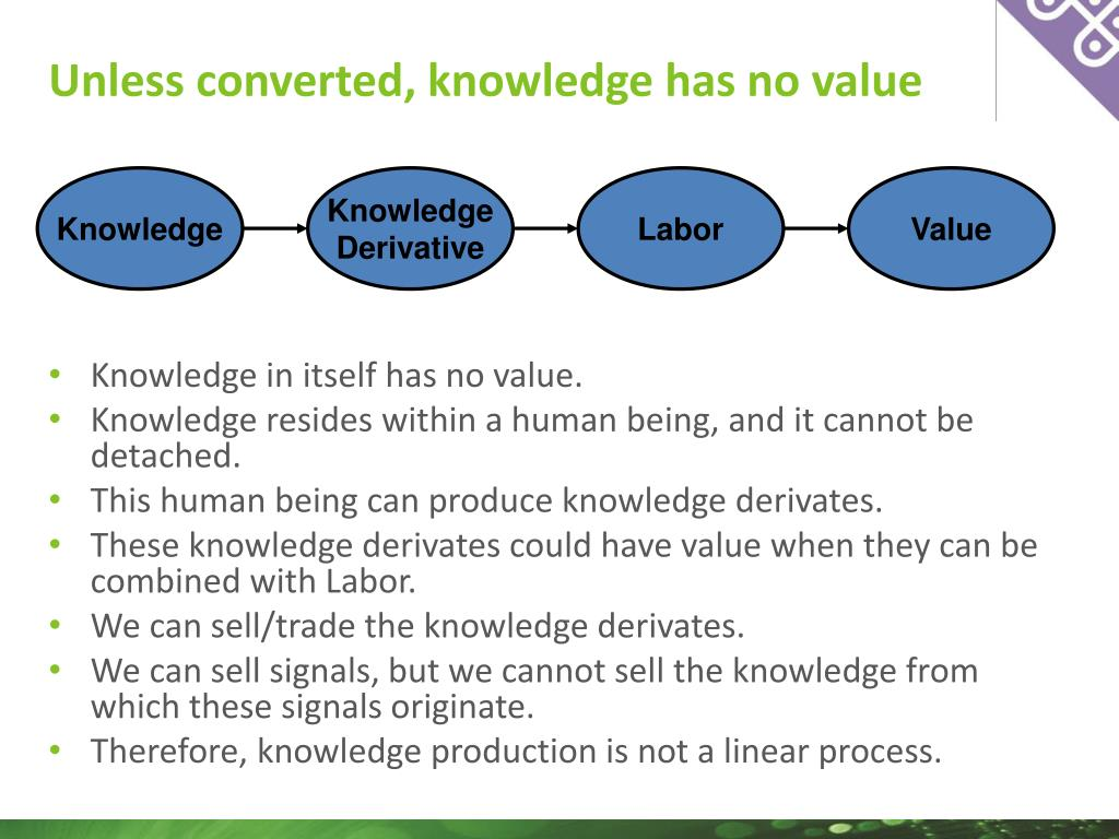 Unless converted, knowledge has no value