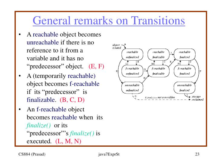 General remarks on Transitions