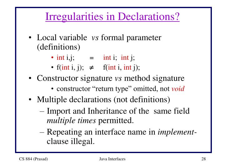 Irregularities in Declarations?
