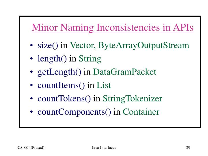 Minor Naming Inconsistencies in APIs