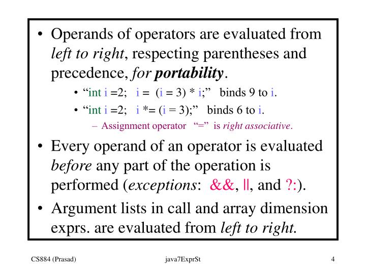 Operands of operators are evaluated from