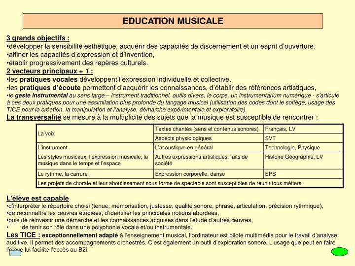 EDUCATION MUSICALE