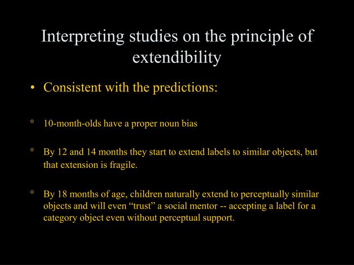 Interpreting studies on the principle of extendibility