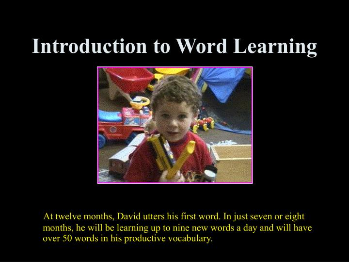 Introduction to Word Learning