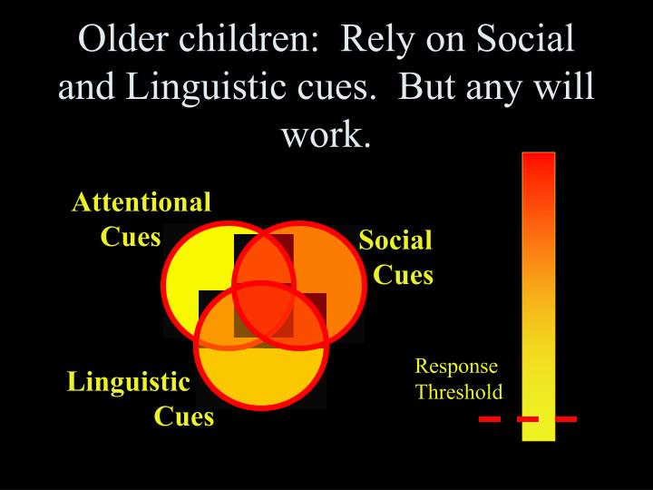 Older children:  Rely on Social and Linguistic cues.  But any will work.