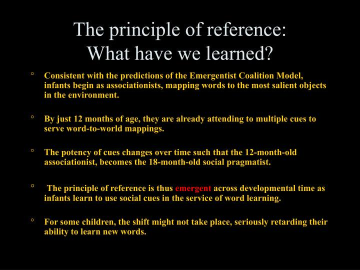 The principle of reference: