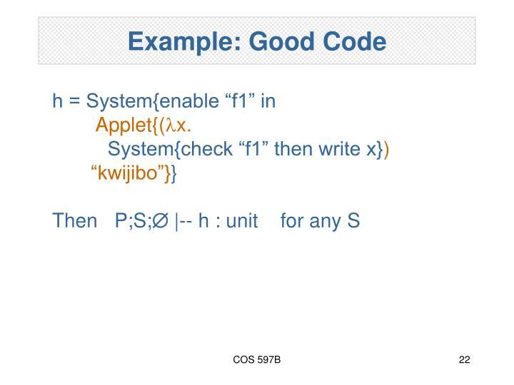 Example: Good Code