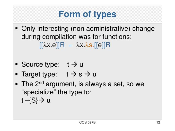 Form of types
