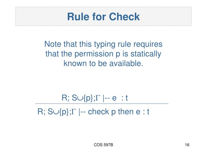 Rule for Check