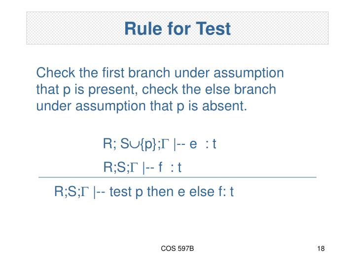 Rule for Test