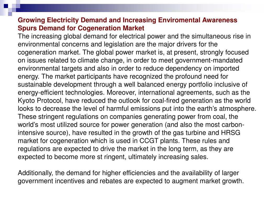 Growing Electricity Demand and Increasing Enviromental Awareness Spurs Demand for Cogeneration Market