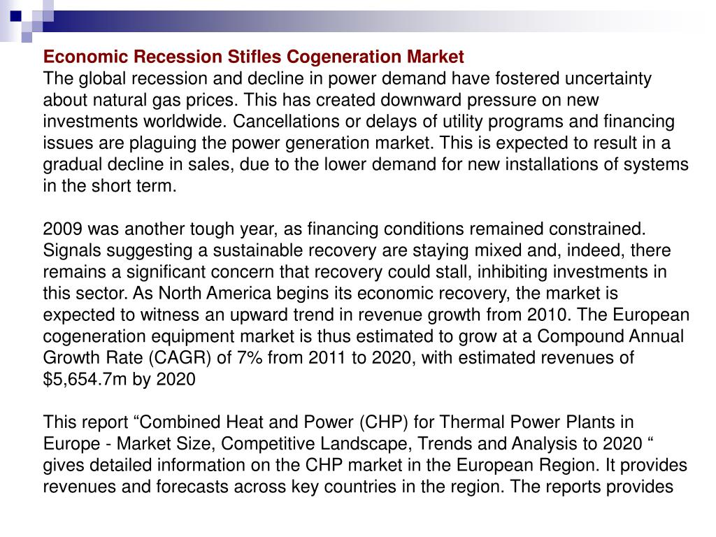 Economic Recession Stifles Cogeneration Market