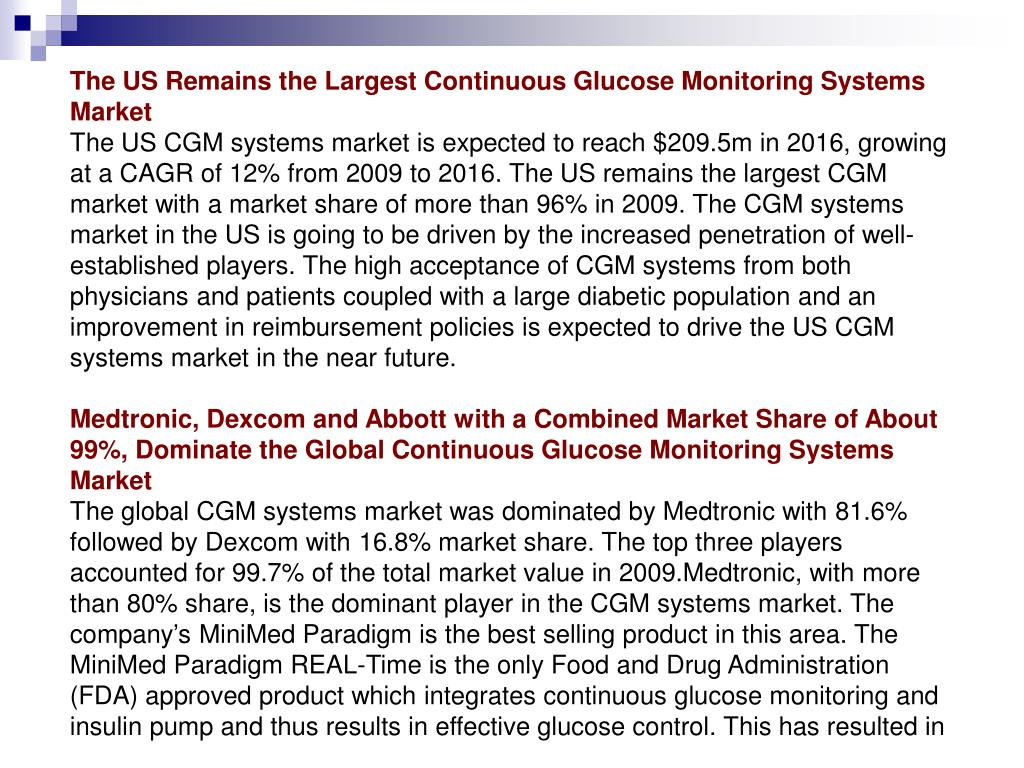 The US Remains the Largest Continuous Glucose Monitoring Systems Market