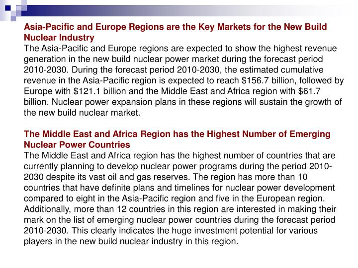 Asia-Pacific and Europe Regions are the Key Markets for the New Build Nuclear Industry