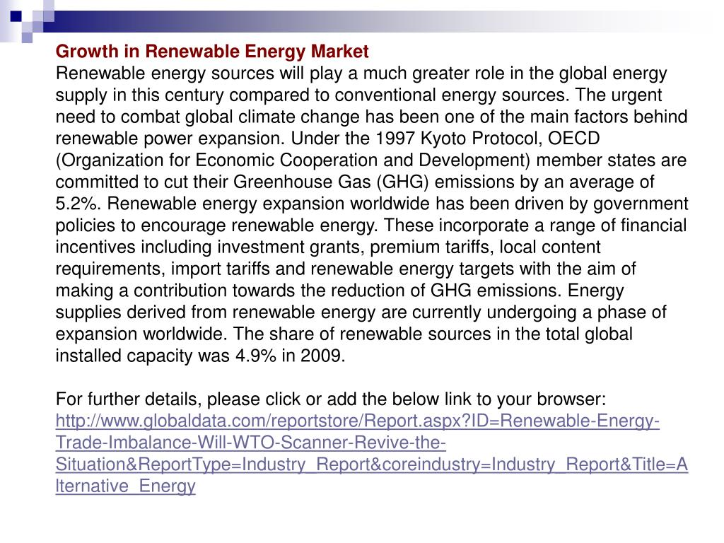 Growth in Renewable Energy Market