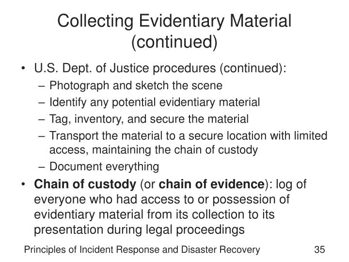 Collecting Evidentiary Material (continued)