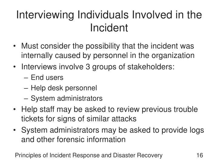 Interviewing Individuals Involved in the Incident
