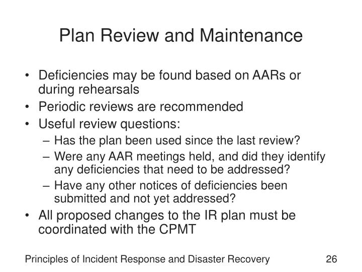 Plan Review and Maintenance