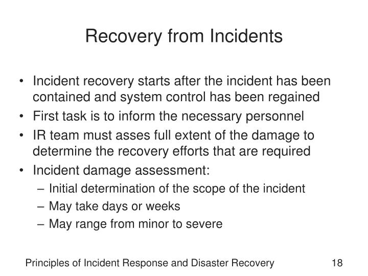 Recovery from Incidents