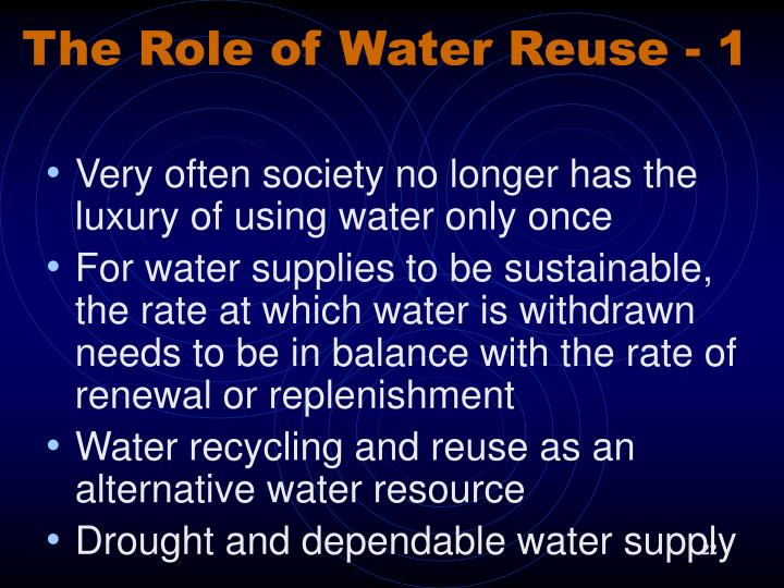 The Role of Water Reuse - 1