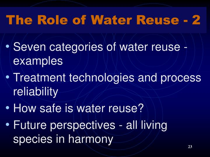 The Role of Water Reuse - 2