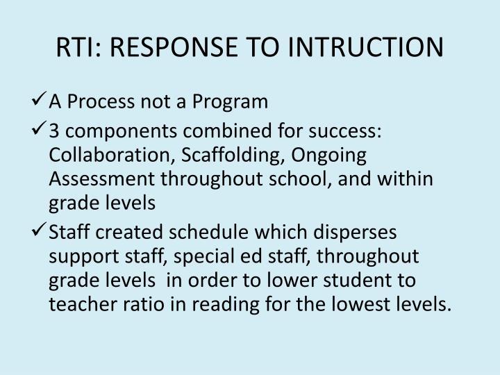 RTI: RESPONSE TO INTRUCTION