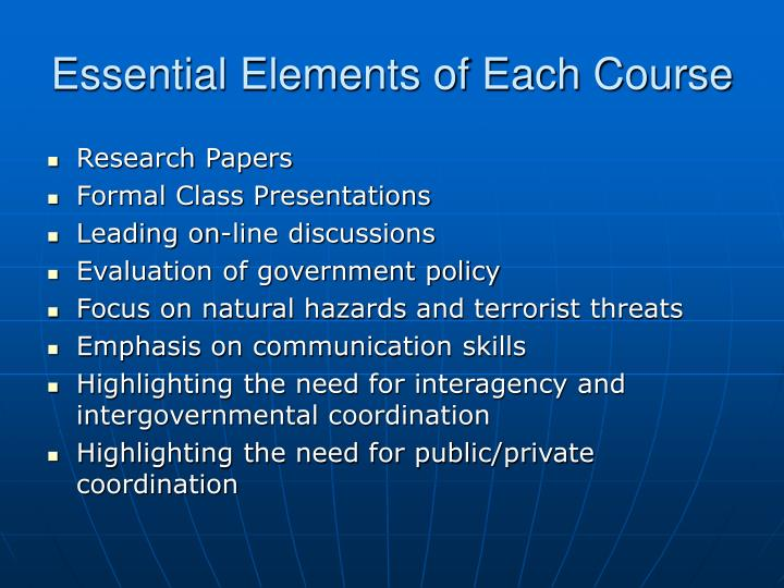 Essential Elements of Each Course