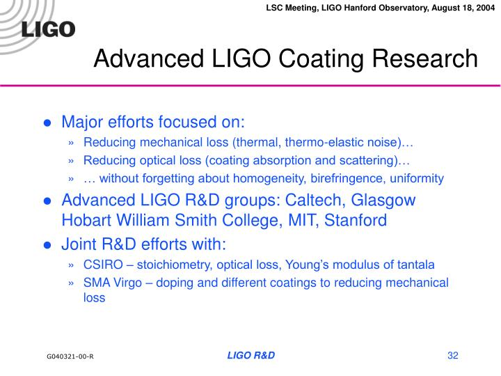 Advanced LIGO Coating Research