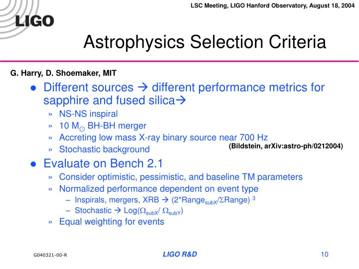 Astrophysics Selection Criteria