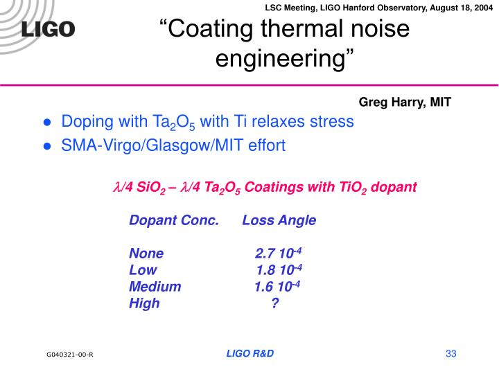 """Coating thermal noise engineering"""