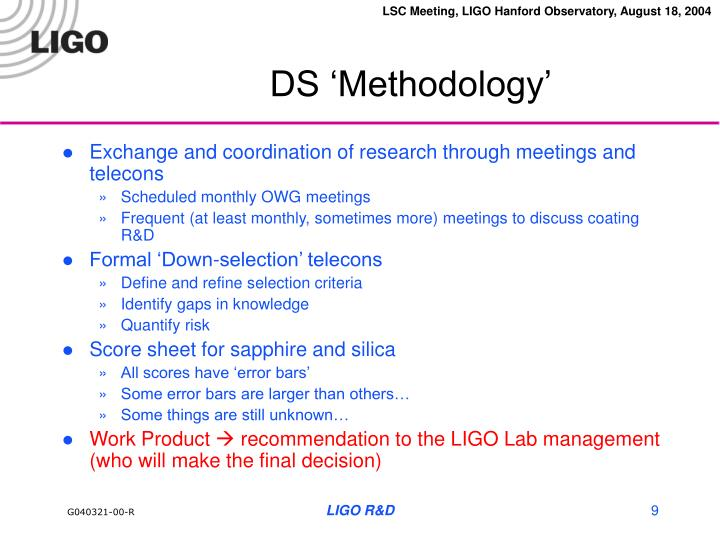 DS 'Methodology'