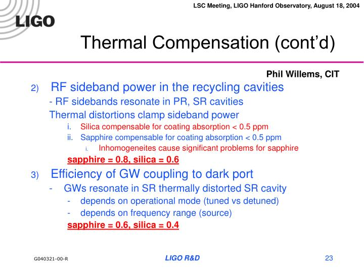 Thermal Compensation (cont'd)