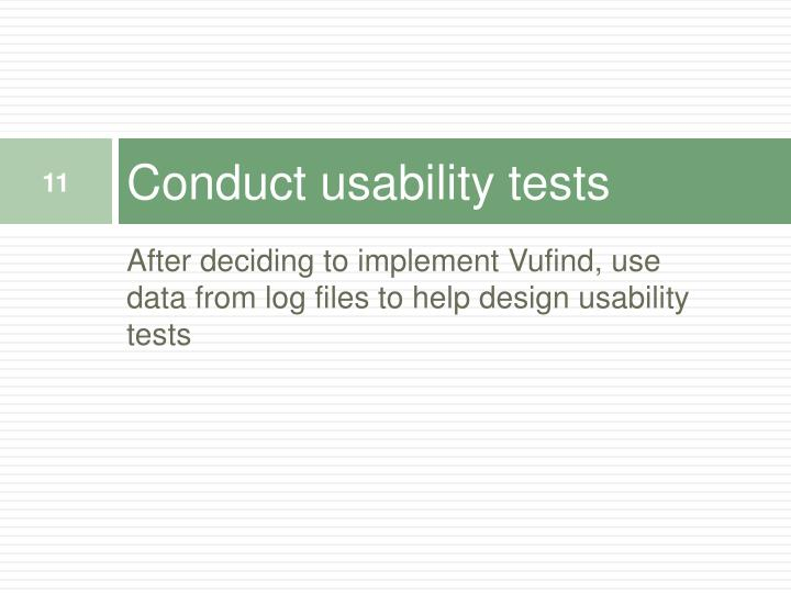 Conduct usability tests