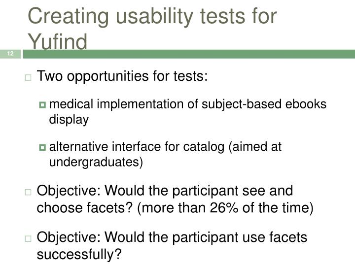 Creating usability tests for Yufind