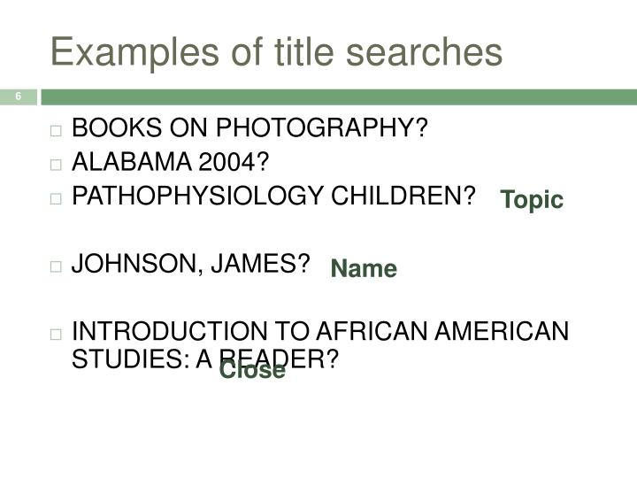Examples of title searches