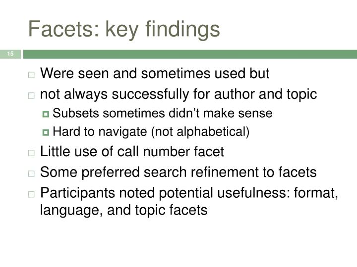 Facets: key findings
